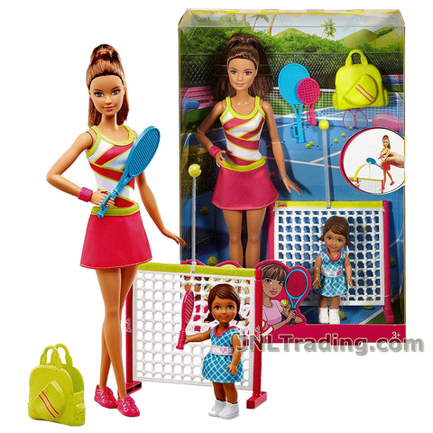 Barbie Year 2016 Career Series 12 Inch Doll Set - Teresa as TENNIS COACH DVG15 with Toddler Student, 2 Rackets, Bag and Net with Tennis Ball