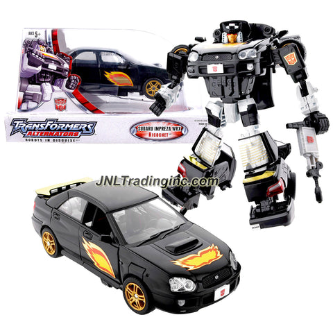 Hasbro Year 2005 Transformers ALTERNATOR Series 7 Inch Tall Robot Action Figure - Autobot RICOCHET with Flame Graphics, Adjustable Seats, Detailed Interior and Intercooler that Change to Blaster Gun (Vehicle Mode: Subaru Impreza WRX)