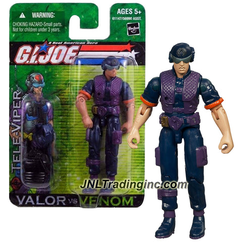 "Hasbro Year 2004 G.I. JOE ""Valor Vs. Venom"" Series 4 Inch Tall Action Figure - Cobra Communications Specialist TELE-VIPER with Communication Helmet, Gun with Silencer, Shotgun, Radio and Backpack"