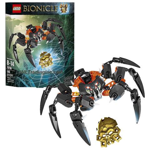 Lego Year 2015 Bionicle Series 8 Inch Wide Figure Set #70790 - LORD OF SKULL SPIDERS with Translucent Eye and Lever-Operated Grip-and-Crush Function Plus Golden Skull Spider (Pieces: 145)