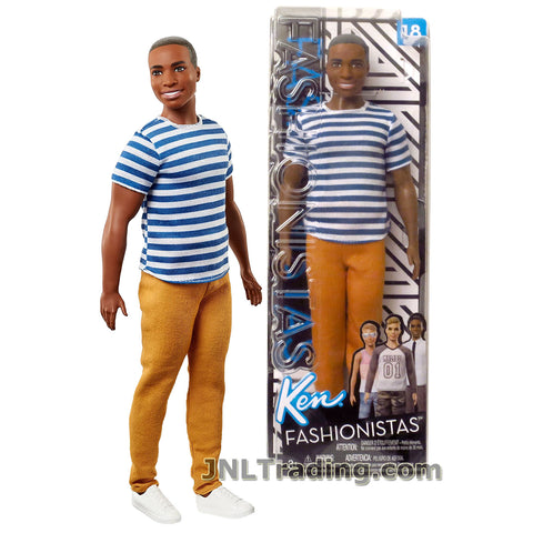 Barbie Year 2017 Fashionistas Series 12 Inch Doll #18 - Muscular African American KEN FNT86 in Blue and White Super Stripes Shirt and Gold Brown Pants