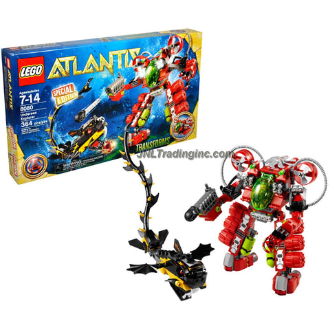 Lego Year 2010 Atlantis Series Special Edition Set # 8080 - UNDERSEA EXPLORER that Transforms with Torpedo Launcher and Grappling Arm Plus Red Atlantis Treasure Key, Sea Serpent and Diver Minifigure (Total Pieces: 364)