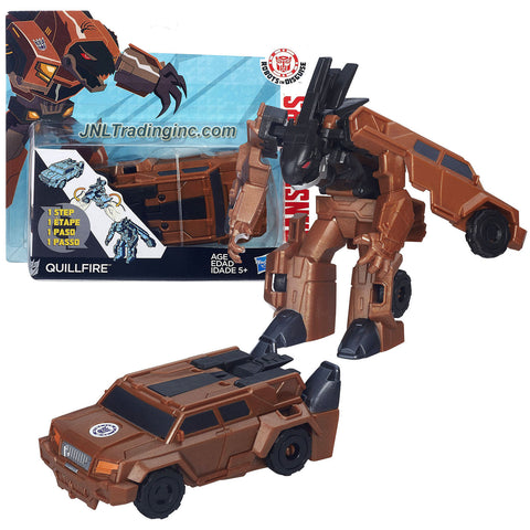 Product Features Includes: Decepticon QUILLFIRE (Vehicle Mode: Sport Utility Vehicle SUV) Quillfire figure measured approximately 4 inch tall Produced in year 2015 For age 5 and up Product Description Hasbro Year 2015 Transformers Robots in Disguise Animation Series One Step Changer 4 Inch Tall Robot Action Figure - Decepticon QUILLFIRE (Vehicle Mode: Sport Utility Vehicle SUV)