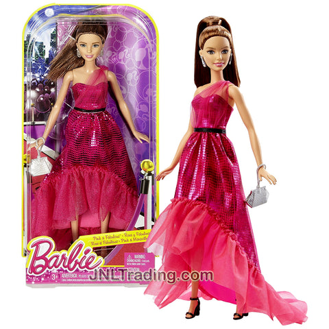 Mattel Year 2015 Barbie Pink and Fabulous Fashionista Series 12 Inch Doll - TERESA DGY71 in Pink Gown with Earrings and Purse