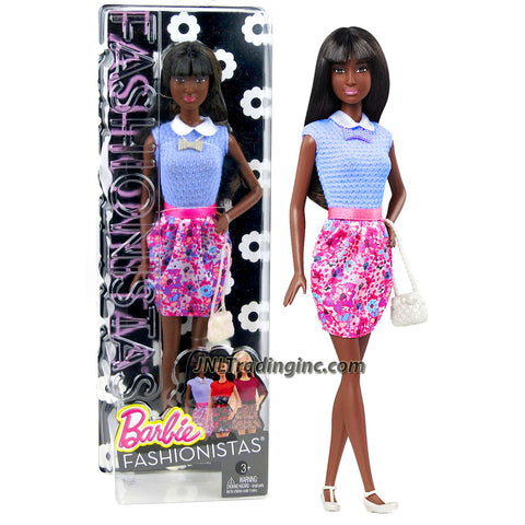 Mattel Year 2014 Barbie Fashionistas Series 12 Inch Doll Set - SHANI (DGF23) in Purple Floral Dress with Purse