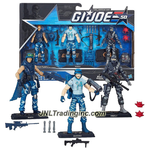Year 2015 G.I. JOE 50 Series 3 Pack 4 Inch Tall Figure Set - SNEAK ATTACK with Specialist DUSTY, BAZOOKA and FIREFLY Plus Weapons,Accessories, Bases and Cards