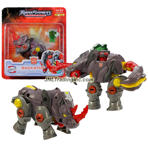 Hasbro Year 2007 Transformers UNIVERSE Series Scout Class 5 Inch Tall Robot Action Figure - Autobot BACKSTOP with Cyber Planet Key (Beast Mode: Rhinoceros)