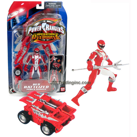 Bandai Year 2006 Power Rangers Operation Overdrive Series 5-1/2 Inch Tall Action Figure Set - RED BATTLIZED POWER RANGER with Blaster and Spear Plus Battle Gear that Transforms into a Vehicle
