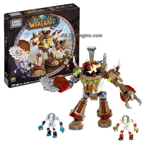 Mega Bloks Year 2012 World of Warcraft Series Set #91045 - GOBLIN SHREDDER with Gripping Claw and Spinning Buzzsaw Blade Plus Secret Loot, Goblin Warrior Grimple, Undead Ghouls Rotgut and Gravegnaw Figure (Total Pieces: 191)