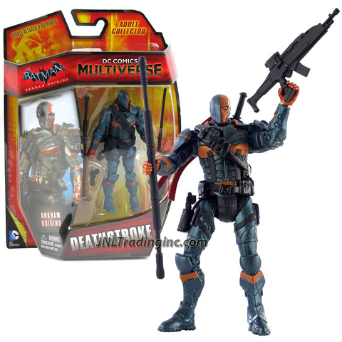 "Mattel Year 2014 DC Comics Multiverse ""Batman Arkham Origins"" Series 4 Inch Tall Action Figure - DEATHSTROKE (CDW48) with Sword, Combat Staff, Gun and Assault Rifle"