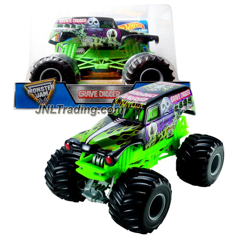 Hot Wheels Year 2016 Monster Jam 1:24 Scale Die Cast Metal Body Official Truck - 4 Time Champion Bad to the Bone BLACK GRAVE DIGGER (CCB06) with Monster Tires, Working Suspension and 4 Wheel Steering
