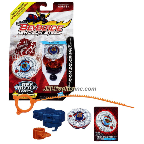 Hasbro Year 2012 Beyblade Shogun Steel Bey Battle Tops with Synchrome Technology - Balance SW145SD SS-02 NINJA SALAMANDER with Shogun Face Bolt, Salamander Warrior Wheel, Ninja Element Wheel, SW145 Spin Track, SD Performance Tip and Ripcord Launcher Plus Online Code