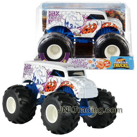 Hot Wheels Year 2018 Monster Trucks 1:24 Scale Die Cast Metal Body Official Truck Series - MILK MONSTER GBV27 with Giant Wheels and 4 Wheel Steering