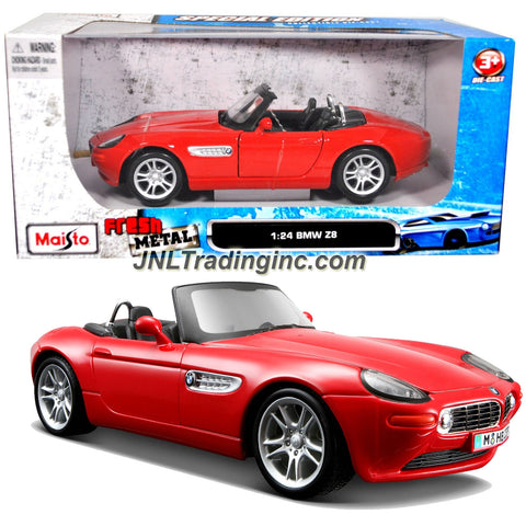 "Maisto Special Edition Series 1:124 Scale Die Cast Car - Red Roadster BMW Z8 with Opening Door & Detailed Chassis (Dim: 6-1/2"" x 2-1/2"" x 2-1/2"")"