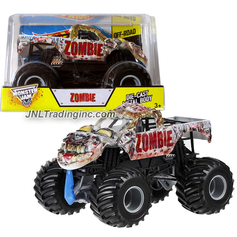 Hot Wheels Year 2014 Monster Jam 1:24 Scale Die Cast Official Monster Truck Series #BGH24 - ZOMBIE with Monster Tires, Working Suspension and 4 Wheel Steering (Dimension - 7 L x 5-1/2 W x 4-1/2 H)