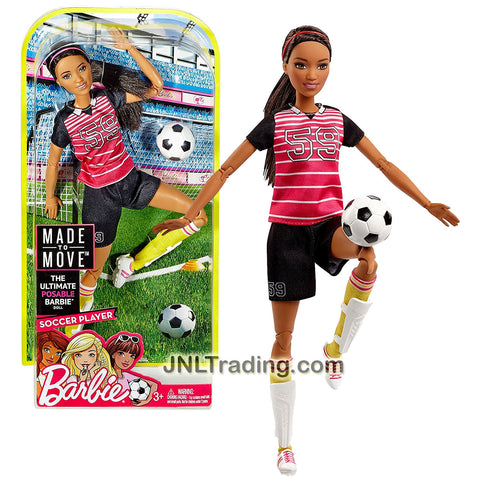 Mattel Year 2016 Barbie Made to Move Series 12 Inch Doll - SOCCER PLAYER GRACE (FCX82) with Shin Pads and Soccer Ball