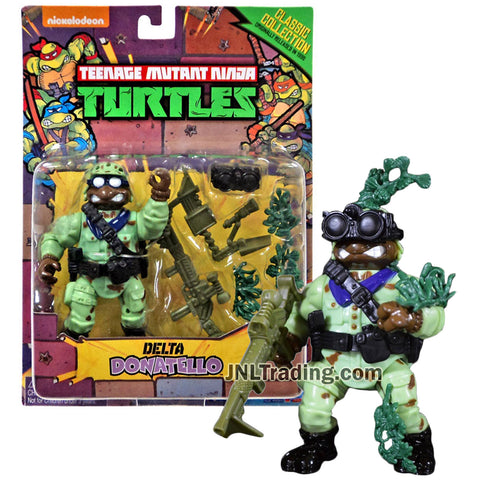 Year 2015 Teenage Mutant Ninja Turtles TMNT 1992 Classic Collection Reproduction 5 Inch Figure - DELTA DONATELLO with Rifle and Camo Grass