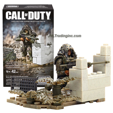 Mega Bloks Year 2015 Call of Duty Series Micro Action Figure Set CNF09 - GHILLIE SUIT SNIPER with Sniper Rifle, Camouflage Suit and Buildable Base