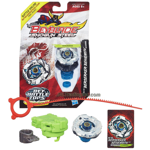 Hasbro Year 2013 Beyblade Shogun Steel Bey Battle Tops with Synchrome Technology - Stamina SR200BWD SS-22 BERSERKER BEHEMOTH with Shogun Face Bolt, Behemoth Warrior Wheel, Berserker Element Wheel, SR200 Spin Track, BWD Performance Tip and Ripcord Launcher Plus Online Code