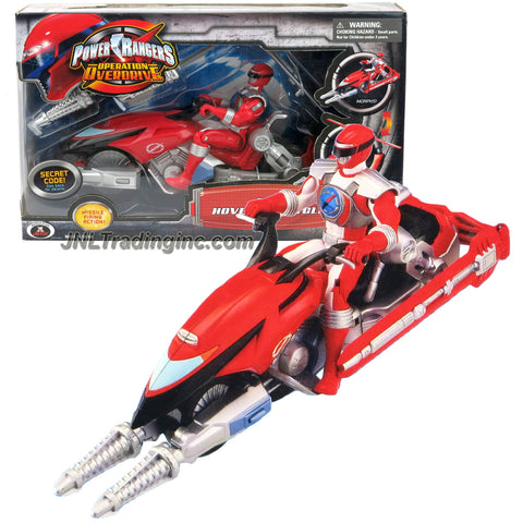 Bandai Year 2006 Power Rangers Operation Overdrive Series 8-1/2 Inch Long Action Figure Vehicle Set - RED HOVERTEK CYCLE that Morphs to Chopper with 2 Missiles Plus Red Power Ranger Figure
