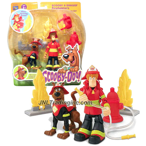 Thinkway Scooby-Doo! Series Deluxe 5 Inch Tall Action Figure - SCOOBY and SHAGGY as FIREFIGHTERS with Collapsing Flames, Fire Hydrant and Backpack
