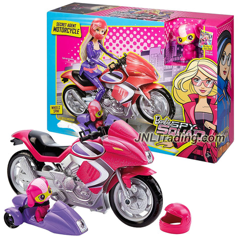 Mattel Year 2015 Barbie Spy Squad Series 12 Inch Doll Vehicle Set - SECRET AGENT MOTORCYCLE with Puppy Techbot Percy, Helmet and Detachable Side Car