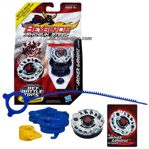 Hasbro Year 2013 Beyblade Shogun Steel Bey Battle Tops with Synchrome Technology - Attack LW160BSF SS-17 ARCHER GARGOYLE with Shogun Face Bolt, Gargoyle Warrior Wheel, Archer Element Wheel, SA165 Spin Track, WSF Performance Tip and Ripcord Launcher Plus Online Code