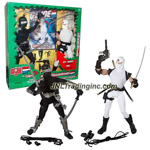 Hasbro Year 2003 G.I. JOE A Real American Hero Spy Troops 2 Pack 12 Inch Tall Action Figure Set - NINJA SHOWDOWN with SNAKE EYES and STORM SHADOW Plus Weapons, Accessories and DVD