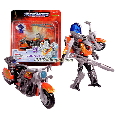 "Hasbro Year 2007 Transformers UNIVERSE Series Scout Class 5 Inch Tall Robot Action Figure - Decepticon LUGNUTZ with Exhaust Pipe that Changed to Heat Blast Rifle ""Dutch"" and Cyber Planet Key (Vehicle Mode: Motorcycle)"
