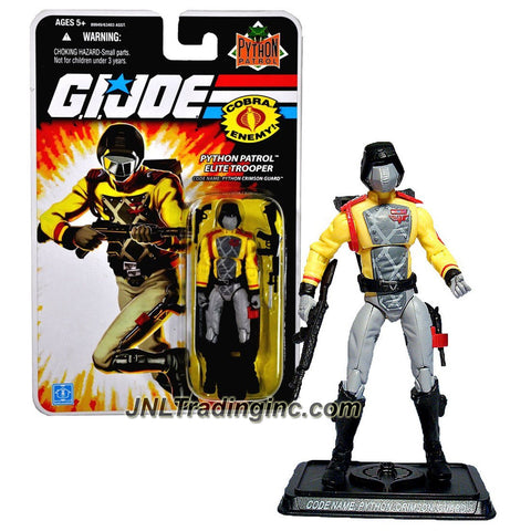 Hasbro Year 2008 G.I. JOE A Real American Hero Series 4 Inch Tall Action Figure - Cobra Python Patrol Elite Trooper PYTHON CRIMSON GUARD with Backpack, Pistol, Assault Rifle with Bayonet and Display Stand