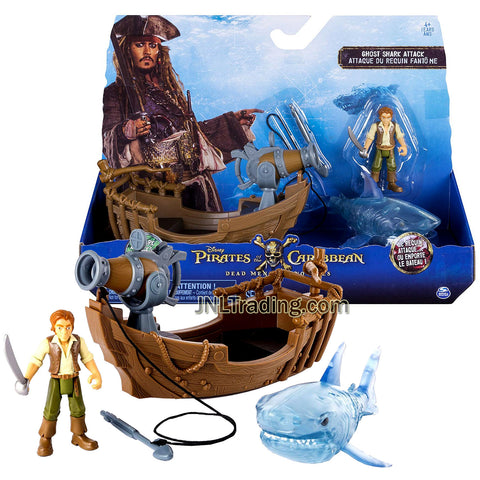 Pirates POTC of the Caribbean Dead Men Tell No Tales Series Playset - Ghost Shark Attack with Henry, Ghost Shark and Boat with Harpoon Projectile