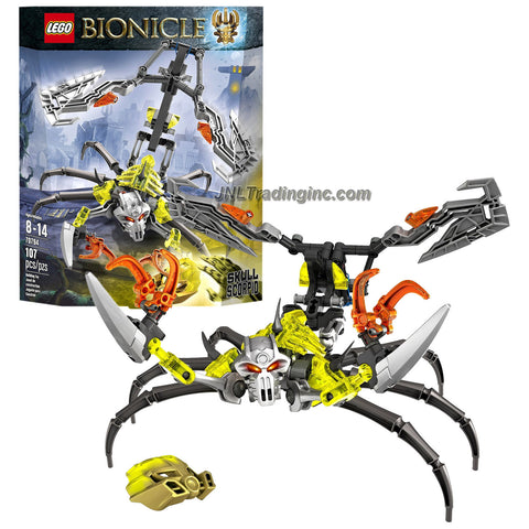 Lego Year 2015 Bionicle Series 10 Inch Long Figure Set #70794 - SKULL SCORPIO with Bull Skull Mask, Trigger-Activated Stinger with 2 Hook Blades, Gripping Pincers (Total Pieces: 107)