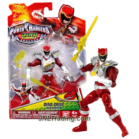 Bandai Year 2015 Saban's Power Rangers Dino Charge Series 5-1/2 Inch Tall Figure - DINO DRIVE RED RANGER with Blaster and Sword
