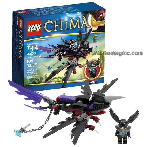 "Lego Year 2013 ""Legends of Chima"" Series Vehicle Set #70000 - RAZCAL'S GLIDER with CHI, Folding Wings, Grabbing Legs and a Chain with Handle Plus Razcal Minifigure (Total Pieces: 109)"