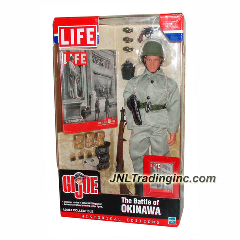 Hasbro Year 2002 GI JOE LIFE Historical Edition 12 Inch Tall Soldier Figure - THE BATTLE OF OKINAWA with Soldier Figure, Miniature LIFE Magazine & Cover, Grenades, M1 Garand Rifle, Grenade Bag, Dog Tags, Entrenching Tool, .38 Revolver, Canteen, Jacket, Helmet, Belt/Clips, Ammo Bag and M1 Bullets