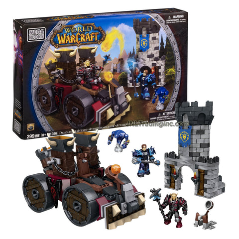 Mega Bloks Year 2012 World of Warcraft Series Set #91026 - DEMOLISHER ATTACK with Horde Demolisher Siege Engine with a Catapult Launcher, Spinning Wheels and Projectiles Plus Alliance Fort Tower, Human Warlock, Blood Elf Death Knight and Void Walker Minion Figure (Total Pieces: 299)