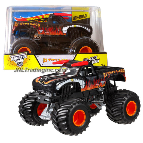 Hot Wheels Year 2014 Monster Jam 1:24 Scale Die Cast Official Monster Truck Series #BGH42 - Black Color EL TORO LOCO with Monster Tires, Working Suspension and 4 Wheel Steering (Dimension - 7 L x 5-1/2 W x 4-1/2 H)