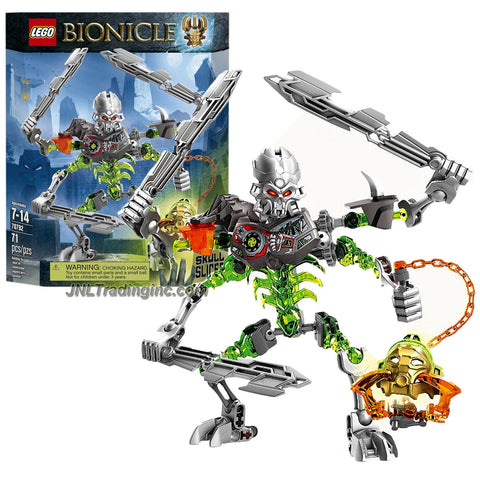 Lego Year 2015 Bionicle Series 7 Inch Tall Figure Set #70792 - SKULL SLICER with Skull Spider Mask, 4 Arms, 3 Hook Blades Plus Mask Grabber Chain and Hook (Total Pieces: 71)