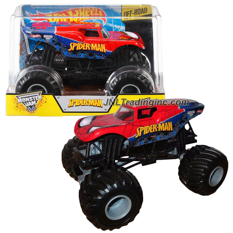 "Hot Wheels Year 2014 Monster Jam 1:24 Scale Die Cast Official Monster Truck Series #CHV10 : Marvel SPIDER-MAN with Monster Tires, Working Suspension and 4 Wheel Steering (Dimension - 7"" L x 5-1/2"" W x 4-1/2"" H)"