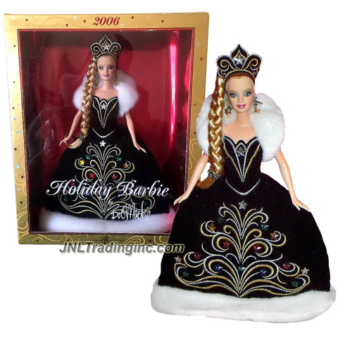 Mattel Year 2006 Barbie Collector Edition 12 Inch Doll Set - BARBIE HOLIDAY 2006 by Bob MacKie in Black Gown with White Faux Fur Plus Tiara Crown and Stars Earrings
