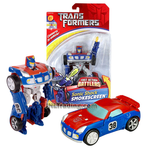 Transformer Year 2007 Fast Action Battlers Series 6 Inch Tall Figure - Autobot Sonic Shock SMOKESCREEN with Cannon Blast Launcher (Vehicle Mode: Pontiac Solstice)