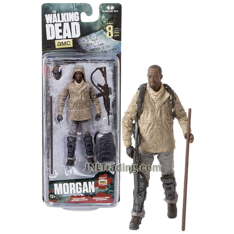 Year 2016 AMC TV Series Walking Dead 5 Inch Tall Figure - MORGAN with Alternative Head, Staff, Backpack and Rifle