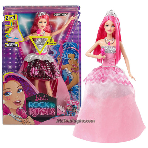 "Mattel Year 2014 Barbie Rock 'N Royals Series 12"" Electronic Doll Set : 2 in 1 Lead Singer COURTNEY (CKB57) with Microphone and 2 Songs"