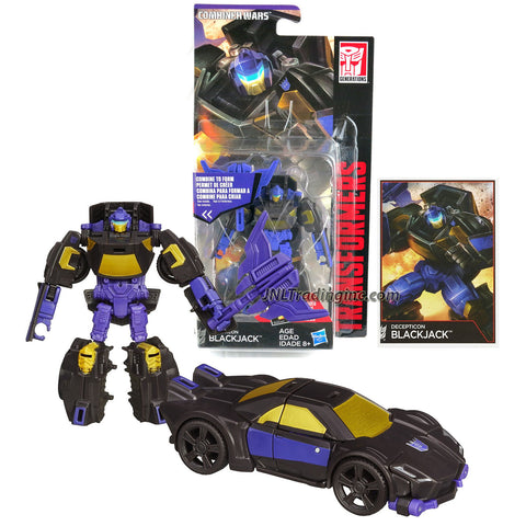 Hasbro Year 2014 Transformers Generations Combiner Wars Series 4 Inch Tall Legends Class Robot Action Figure - Decepticon BLACKJACK with Battle Axe and Collector Card (Vehicle Mode: Sports Car)