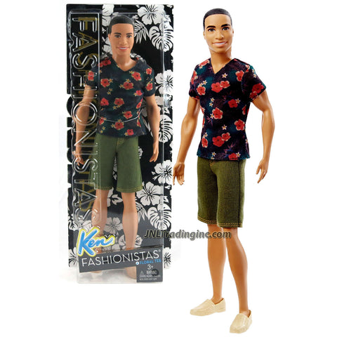 Mattel Year 2015 Barbie Fashionistas Series 12 Inch Doll - STEVEN (DGY68) in Black Red Floral Tee and Olive Green Denim Shorts