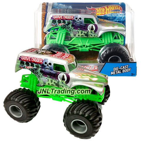 Hot Wheels Year 2016 Monster Jam 1:24 Scale Die Cast Metal Body Official Truck - 4 Time Champion Bad to the Bone SILVER GRAVE DIGGER DJW86 with Monster Tires, Working Suspension and 4 Wheel Steering