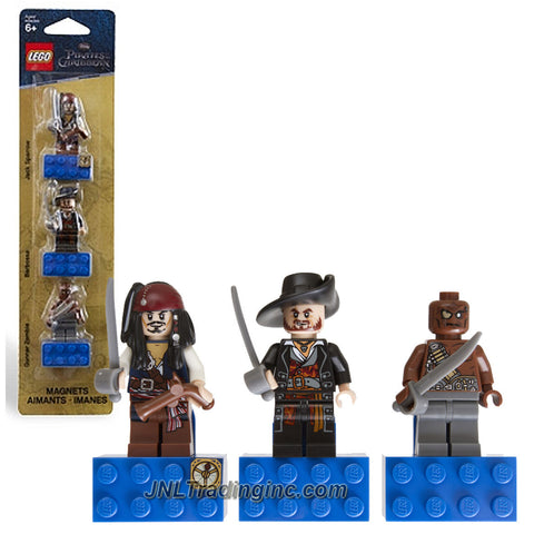 Lego Year 2011 Disney Pirates of the Caribbean Series 3 Pack Minifigure Magnets Set # 853191 : Jack Sparrow with Sword and Flintlock Pistol, Captain Barbossa with Sword and Gunner Zombie with Sword Plus 3 Magnet Bases