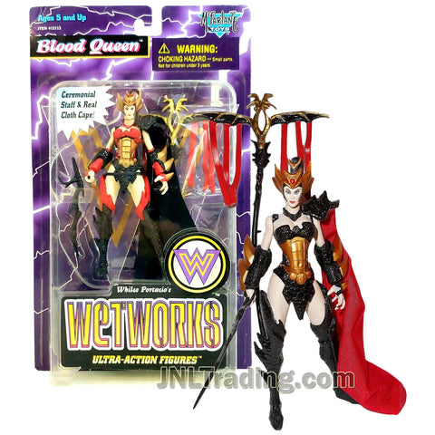 Year 1995 McFarlane Toys Whilce Portacio's Wetworks 6 Inch Tall Ultra Action Figure - BLOOD QUEEN with Sword, Ceremonial Staff and Real Cloth Cape