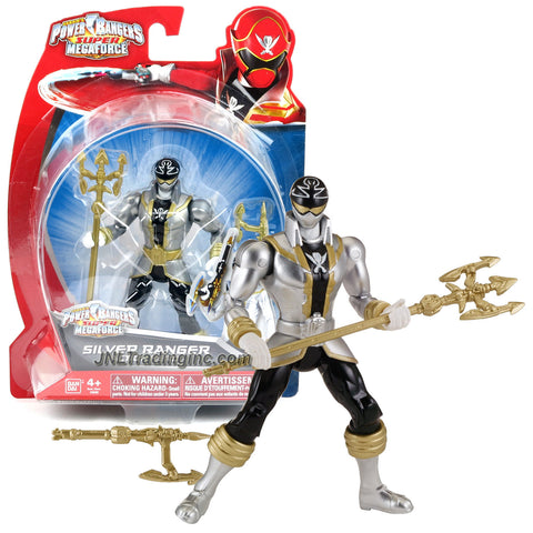 Bandai Year 2014 Power Rangers Super Megaforce Series 5 Inch Tall Action Figure - Hero ORION aka SILVER RANGER with Trident Spear and Blaster
