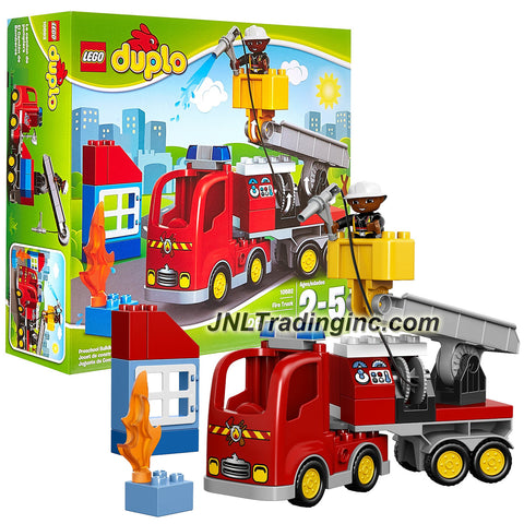 Lego Year 2015 Duplo Town Series Set #10592 - FIRE TRUCK with Moving Crane, Retractable Hose, Building, Flame & Firefighter Figure (Total Pieces: 26)